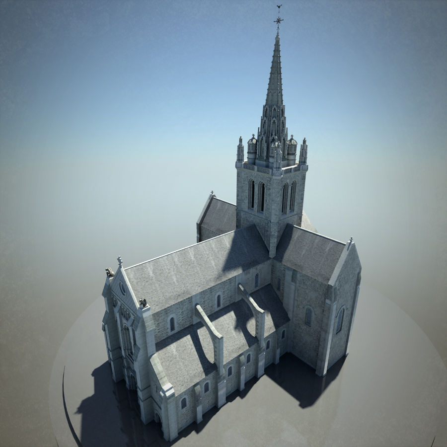 Europese kathedraal met LOD royalty-free 3d model - Preview no. 8