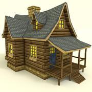 Casa pintada a mano de baja poli modelo 3d