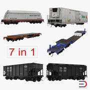Sammlung von Eisenbahn-Industriewagen 3d model