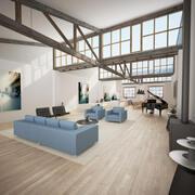 Sala de estar estilo loft 2 modelo 3d