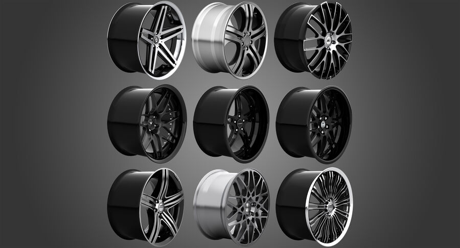Rims Collection - Asanti & Brabus & HRE & Lexani & Rotiform & Vossen & Vorsteiner & WALD royalty-free 3d model - Preview no. 3
