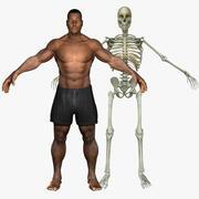 スケルトンとアフリカ系アメリカ人の男性 3d model