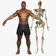 Афро-американец мужского пола со скелетной оснасткой комбо 3d model