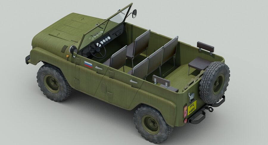 UAZ 469 Russischer Jeep royalty-free 3d model - Preview no. 10