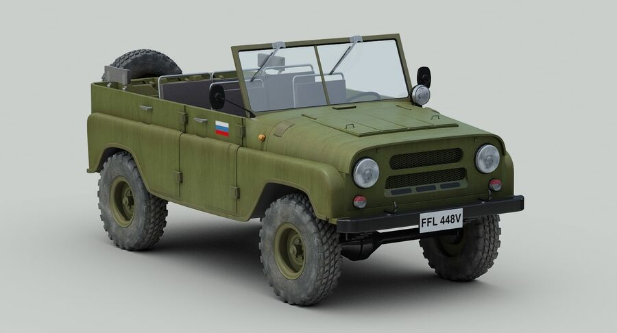 UAZ 469 Russischer Jeep royalty-free 3d model - Preview no. 8
