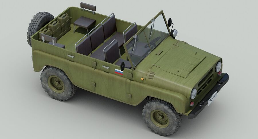UAZ 469 Russische Jeep royalty-free 3d model - Preview no. 9