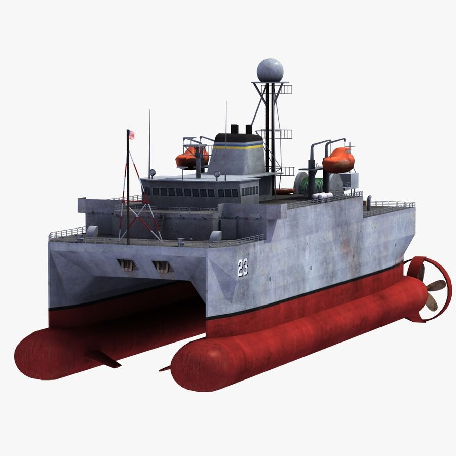 USNS Impeccable T-AGOS 23 royalty-free 3d model - Preview no. 16