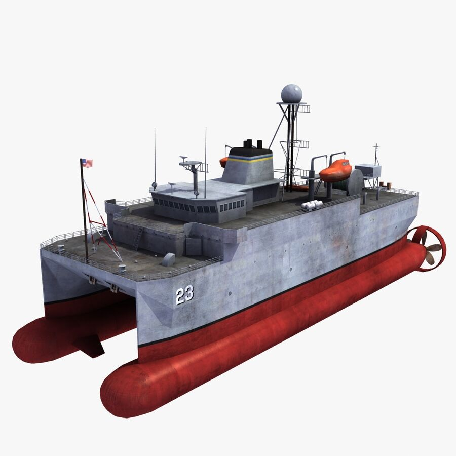 USNS Impeccable T-AGOS 23 royalty-free 3d model - Preview no. 1