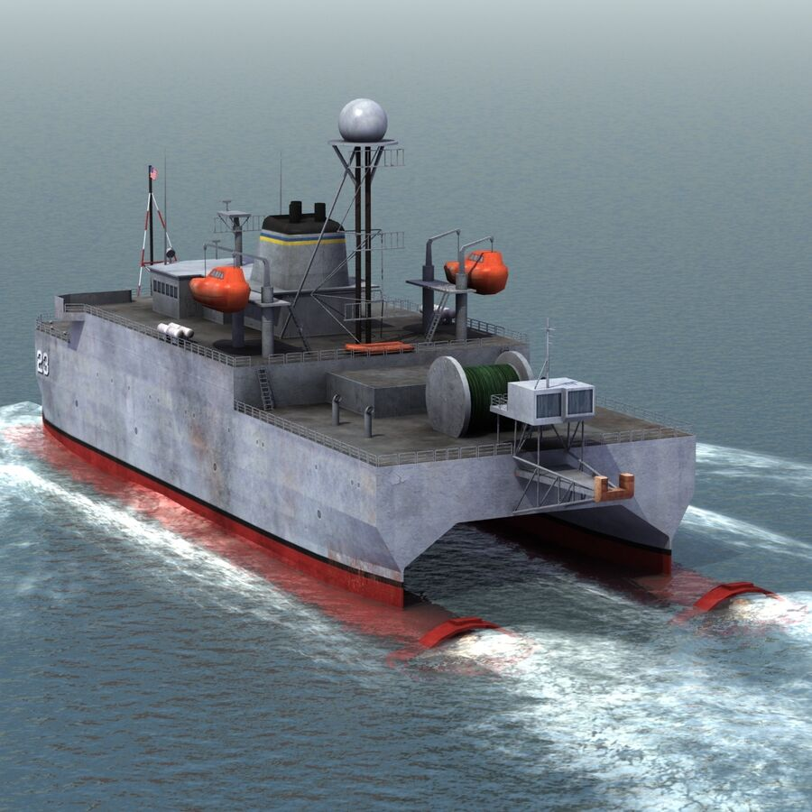 USNS Impeccable T-AGOS 23 royalty-free 3d model - Preview no. 6