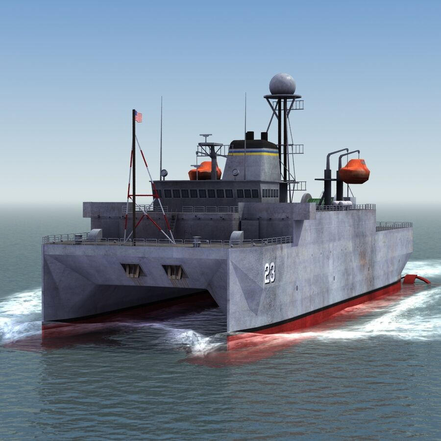 USNS Impeccable T-AGOS 23 royalty-free 3d model - Preview no. 11