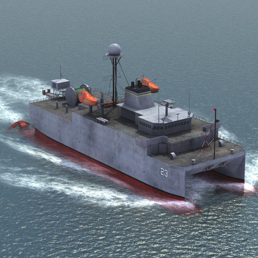 USNS Impeccable T-AGOS 23 royalty-free 3d model - Preview no. 3