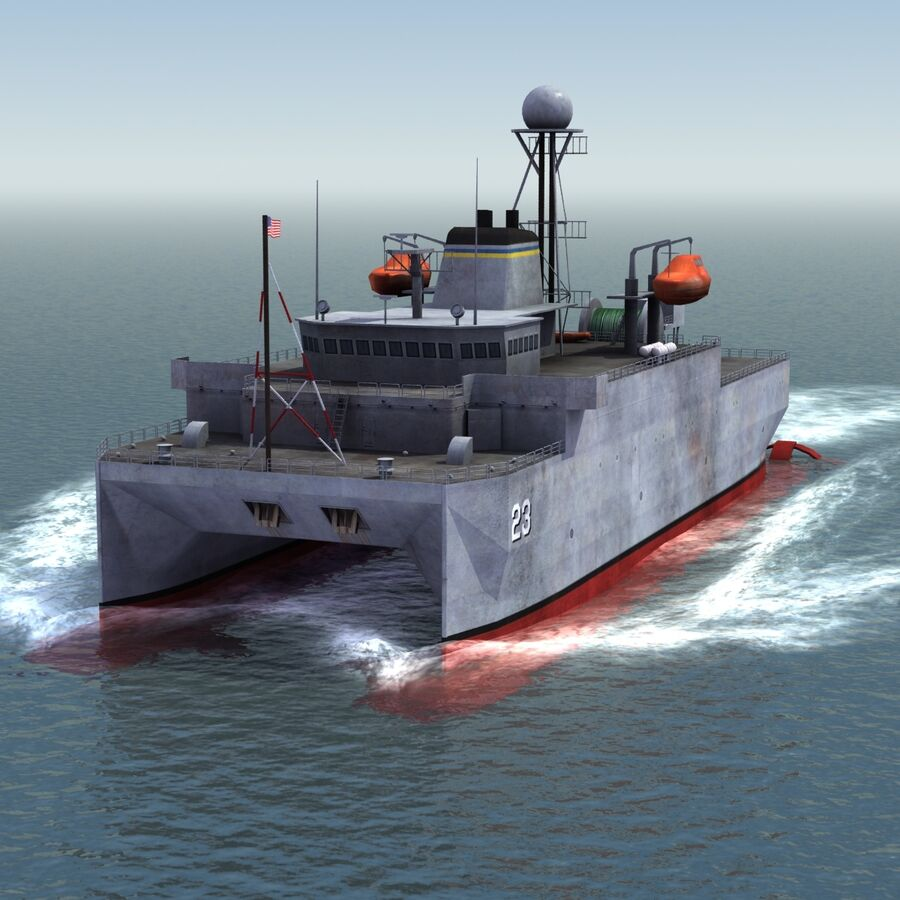 USNS Impeccable T-AGOS 23 royalty-free 3d model - Preview no. 14