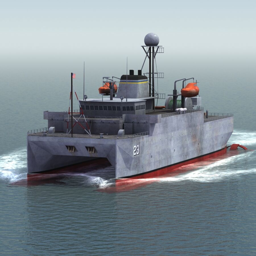 USNS Impeccable T-AGOS 23 royalty-free 3d model - Preview no. 5