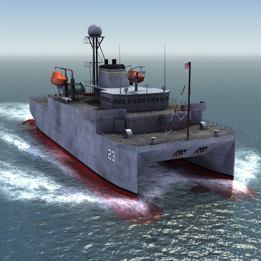 USNS Impeccable T-AGOS 23 royalty-free 3d model - Preview no. 15