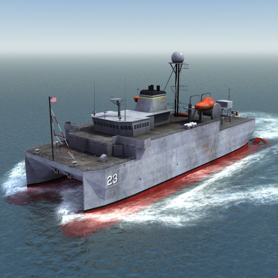 USNS Impeccable T-AGOS 23 royalty-free 3d model - Preview no. 2