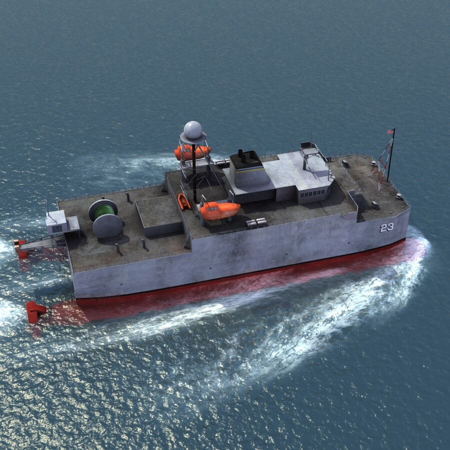USNS Impeccable T-AGOS 23 royalty-free 3d model - Preview no. 9