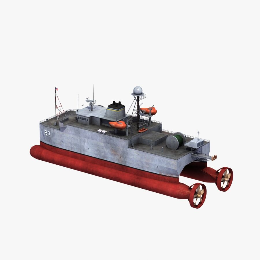 USNS Impeccable T-AGOS 23 royalty-free 3d model - Preview no. 25