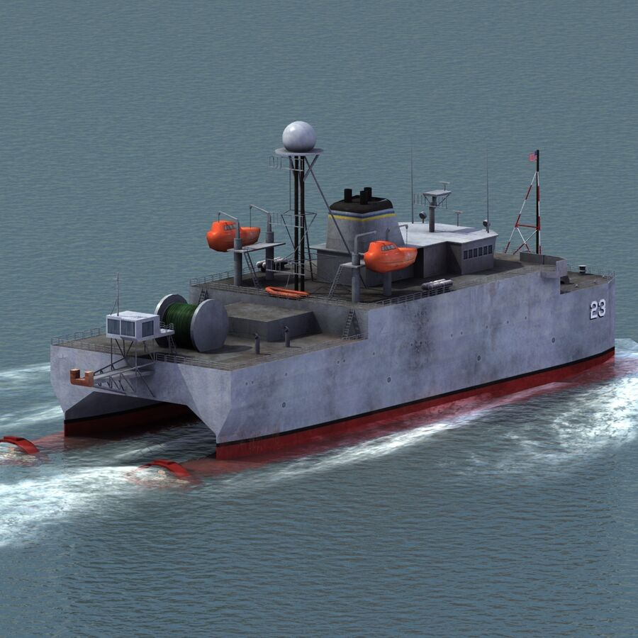 USNS Impeccable T-AGOS 23 royalty-free 3d model - Preview no. 4