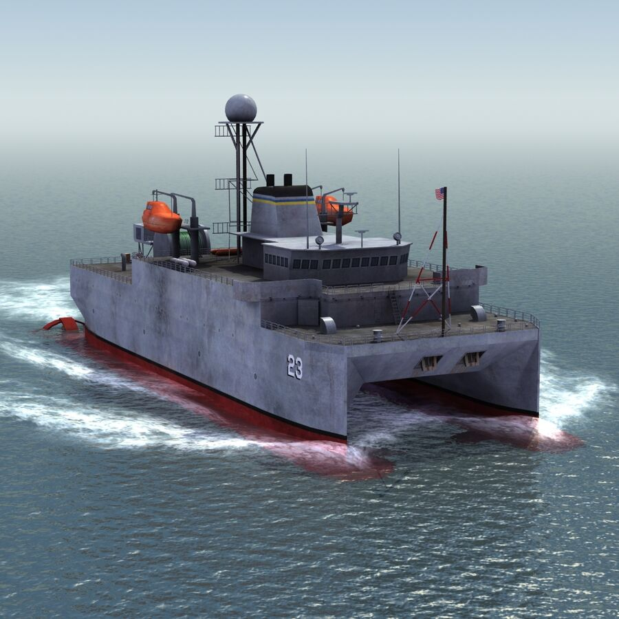 USNS Impeccable T-AGOS 23 royalty-free 3d model - Preview no. 13