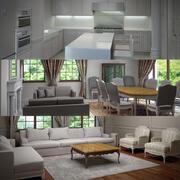 Escena interior de la casa modelo 3d