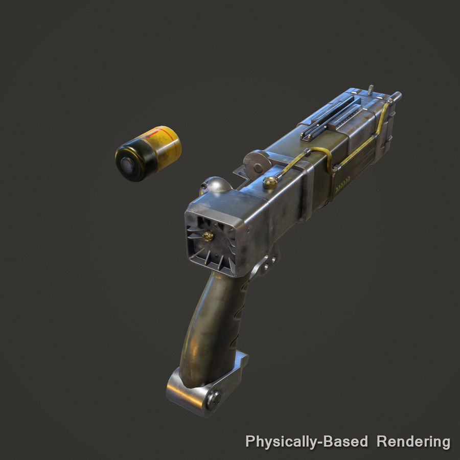 Laser Pistol royalty-free 3d model - Preview no. 15