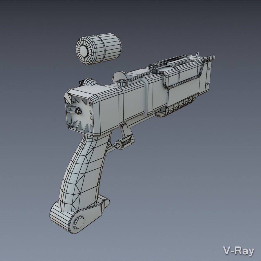 Laser Pistol royalty-free 3d model - Preview no. 7
