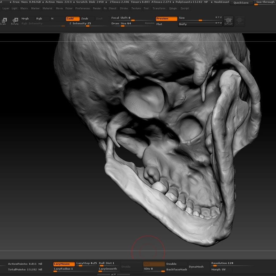 Skull advanced royalty-free 3d model - Preview no. 15
