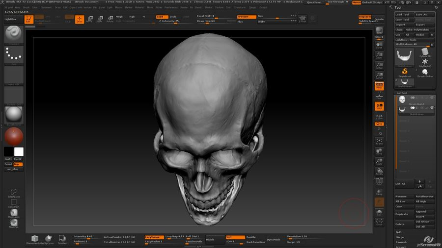Skull advanced royalty-free 3d model - Preview no. 13