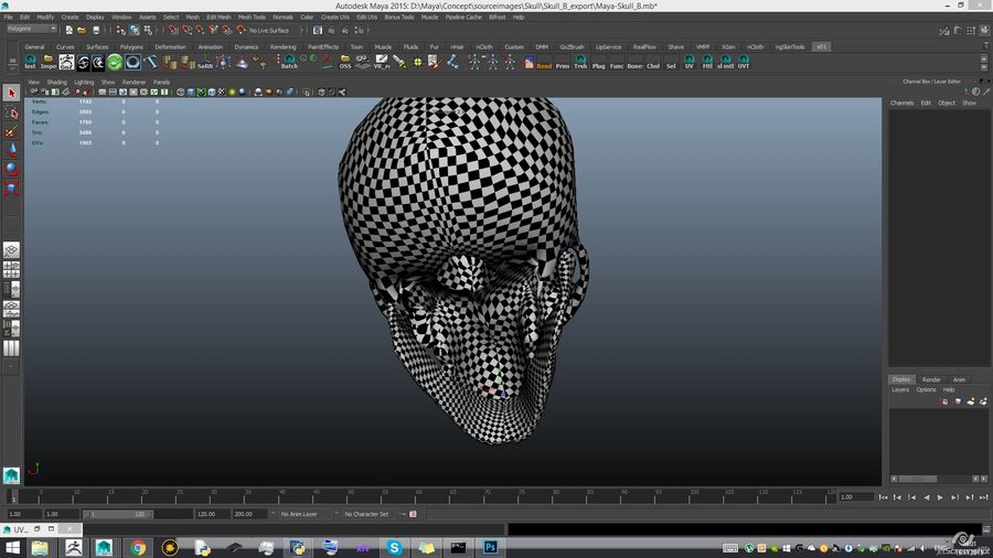 Skull advanced royalty-free 3d model - Preview no. 21