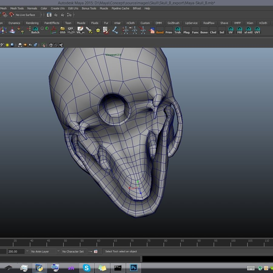 Skull advanced royalty-free 3d model - Preview no. 18