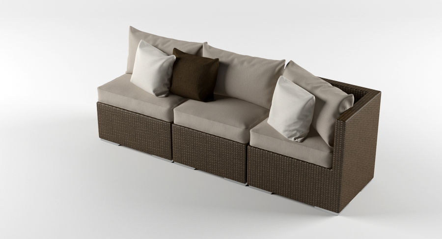 Rattan Lounge Outdoor Furniture royalty-free 3d model - Preview no. 3