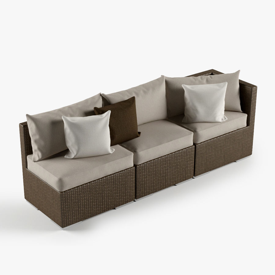 Rattan Lounge Outdoor Furniture royalty-free 3d model - Preview no. 1