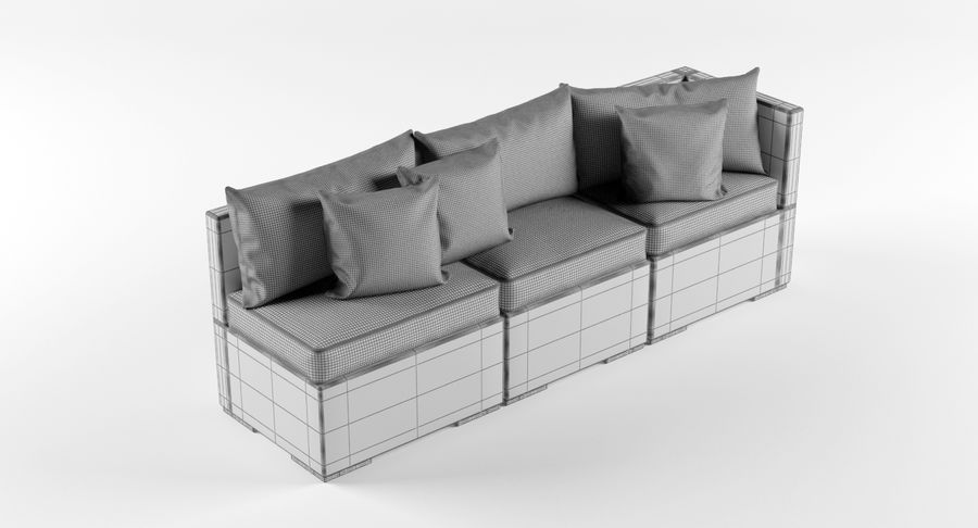 Rattan Lounge Outdoor Furniture royalty-free 3d model - Preview no. 8