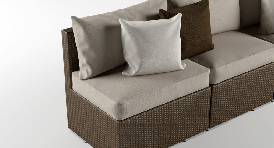 Rattan Lounge Outdoor Furniture royalty-free 3d model - Preview no. 5