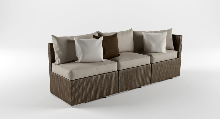 Rattan Lounge Outdoor Furniture royalty-free 3d model - Preview no. 4
