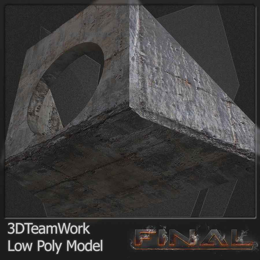 Tube de béton 01 Low Poly royalty-free 3d model - Preview no. 5