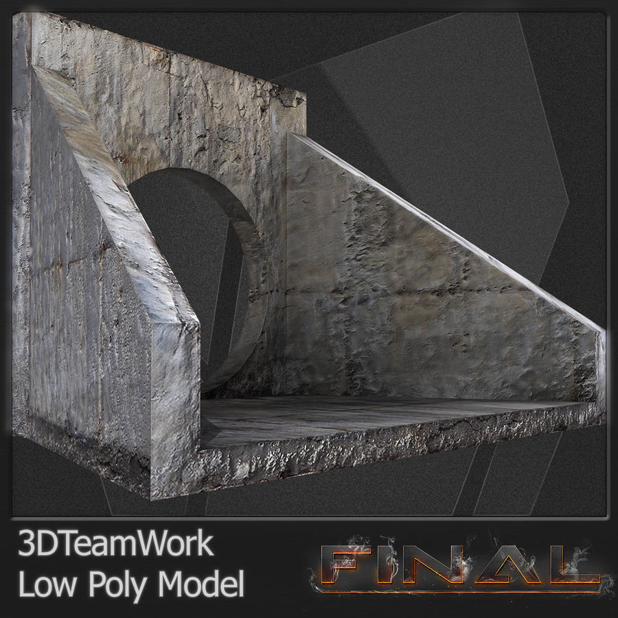 Tube de béton 01 Low Poly royalty-free 3d model - Preview no. 3