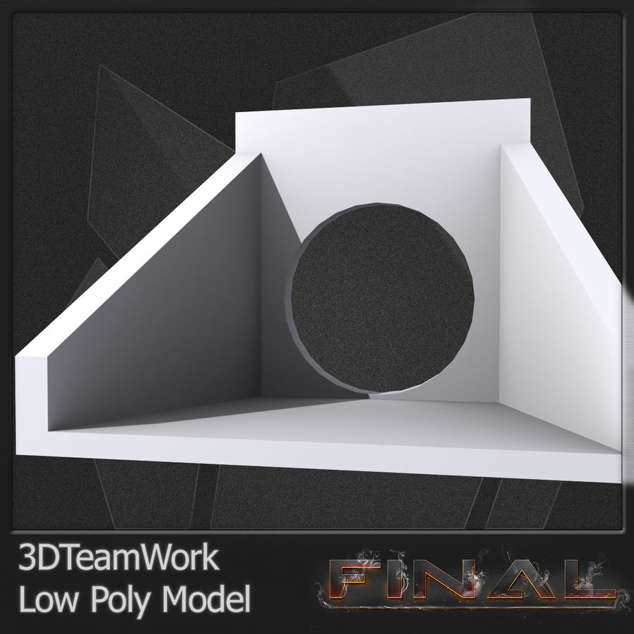 Tube de béton 01 Low Poly royalty-free 3d model - Preview no. 9