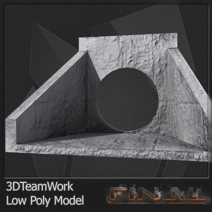 Tube de béton 01 Low Poly royalty-free 3d model - Preview no. 10