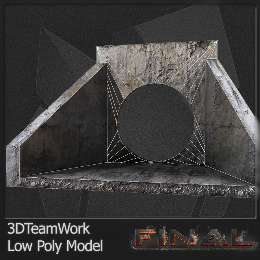 Tube de béton 01 Low Poly royalty-free 3d model - Preview no. 12