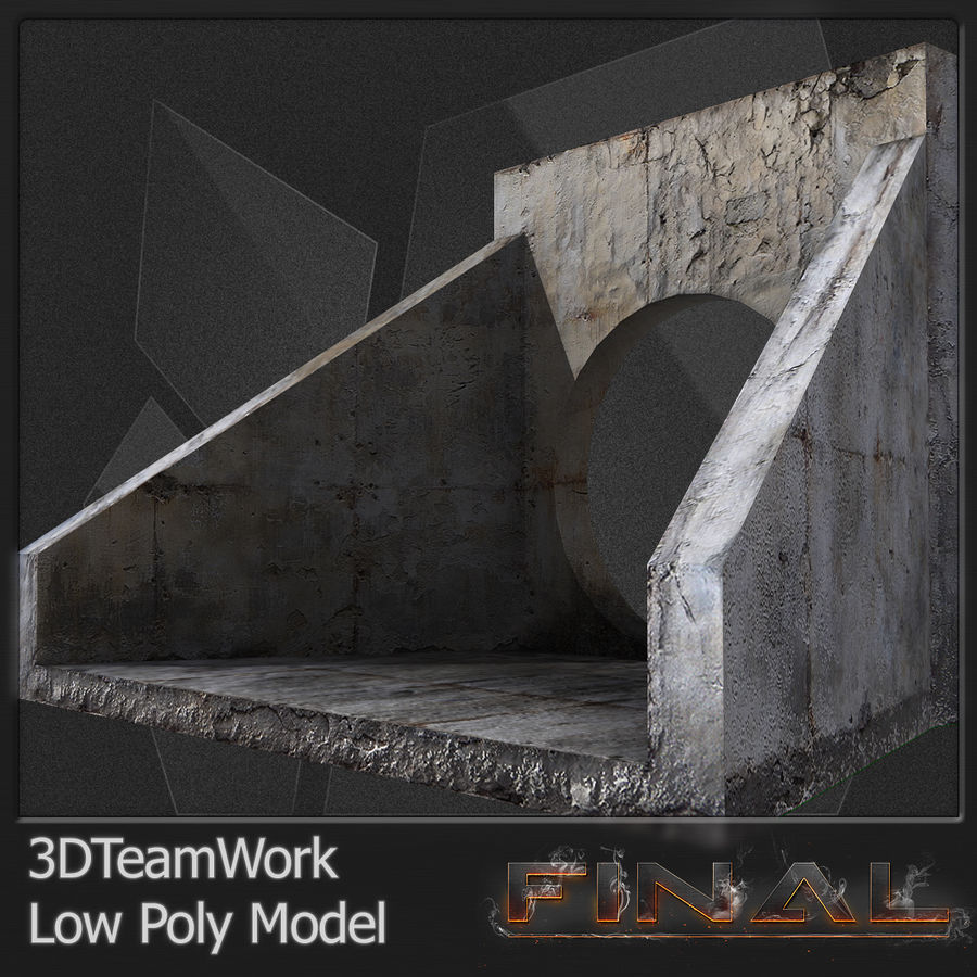 Tube de béton 01 Low Poly royalty-free 3d model - Preview no. 4