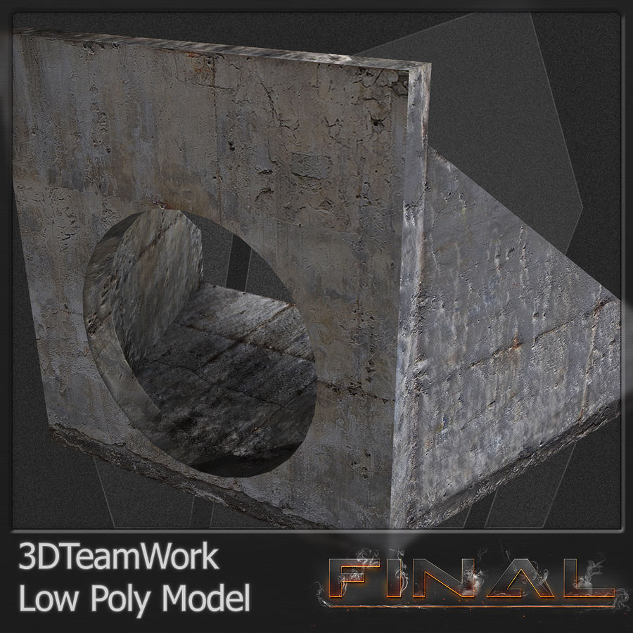 Tube de béton 01 Low Poly royalty-free 3d model - Preview no. 6
