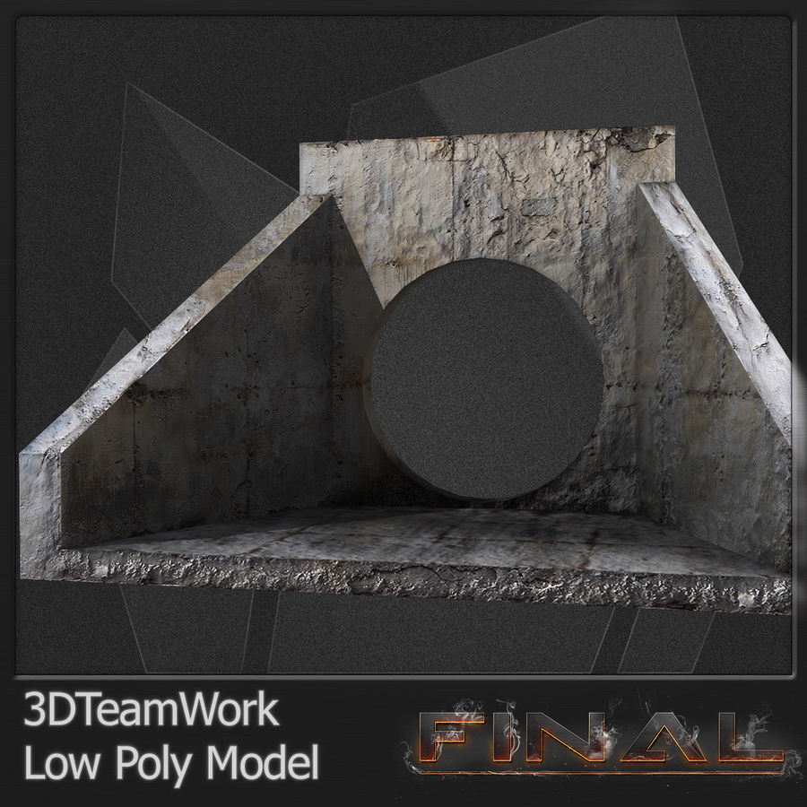 Tube de béton 01 Low Poly royalty-free 3d model - Preview no. 11