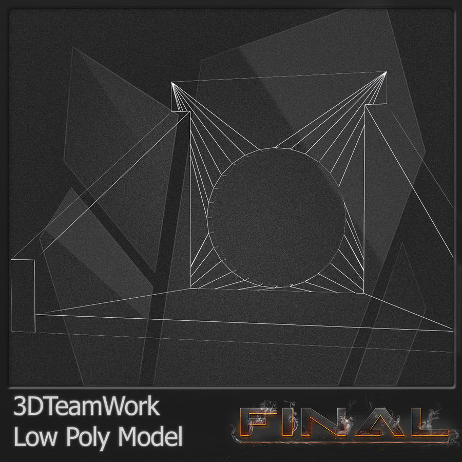Tube de béton 01 Low Poly royalty-free 3d model - Preview no. 8