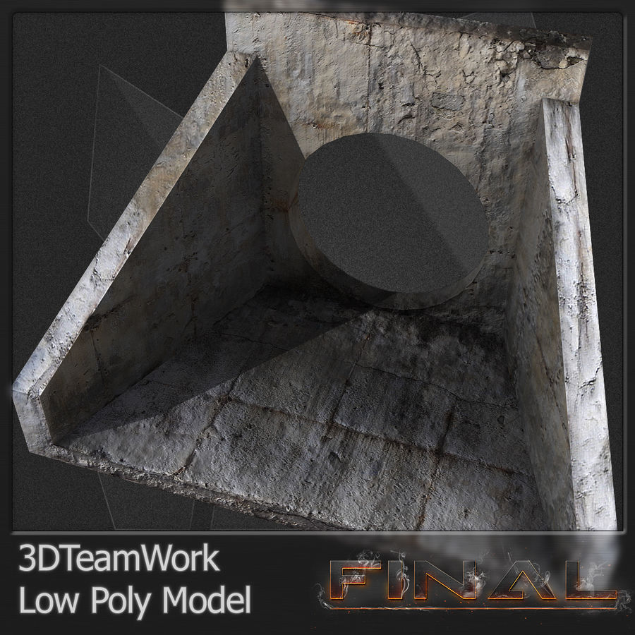 Tube de béton 01 Low Poly royalty-free 3d model - Preview no. 2