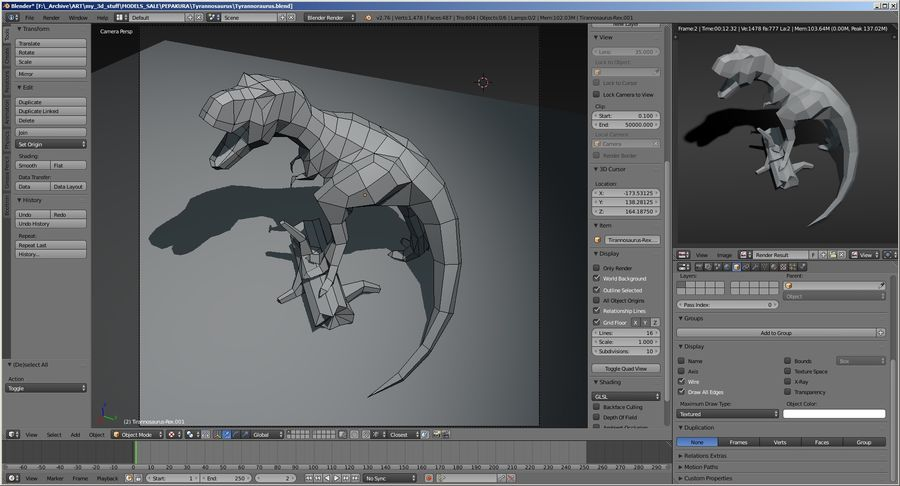 Tyrannosaurus Low Poly royalty-free 3d model - Preview no. 7
