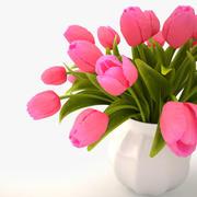 tulips bouquet pink 3d model