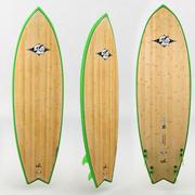 surfboard wood green 3d model