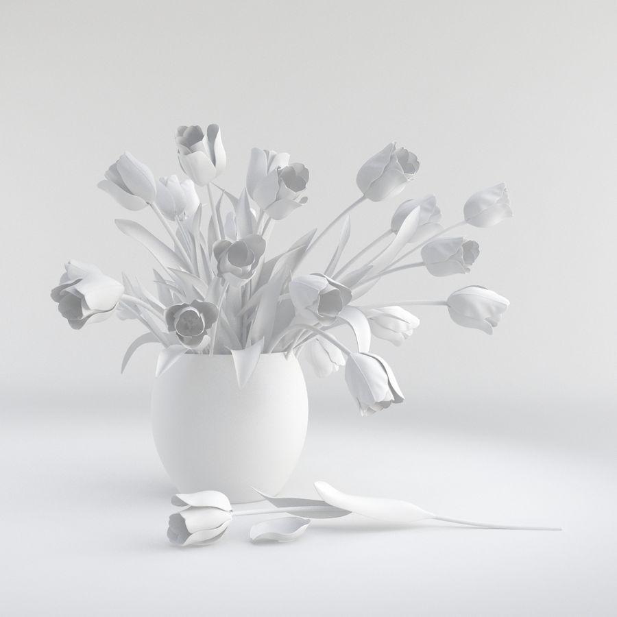 Vase à fleur de tulipe royalty-free 3d model - Preview no. 7