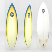 冲浪板橙色蓝色 3d model